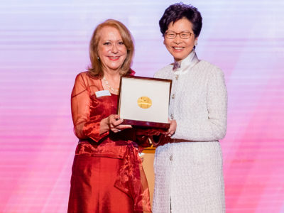 Vicky Colbert was awarded the first Yidan Prize for Educational Development by Hong Kong Chief Executive Carrie Lam. (Credit: Jared Wade)