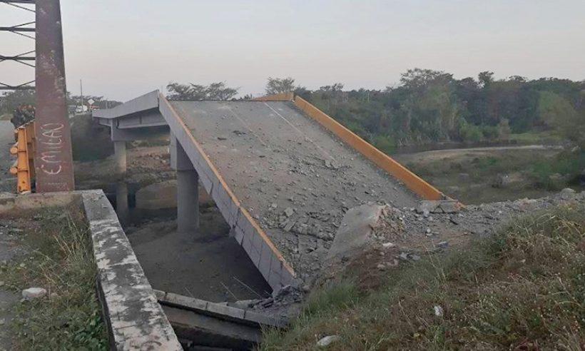 The most severe physical damage done by the ELN infrastructure downed a bridge in Pelaya, Colombia. (Credit: Ejército Nacional de Colombia)
