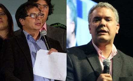 Gustavo Petro and Ivan Duque, the left and right coalition candidates in the 2018 presidential election in Colombia. (Photo credit: Prensa de Bogotá / Leoboud)