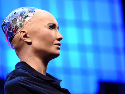 Photo: As part of world tour, Sophia the robot, created by Hanson Robotics, took the stage during the Web Summit 2017 in Lisbon, Portugal, last November. (Photo credit: Stephen McCarthy / Web Summit via Sportsfile)