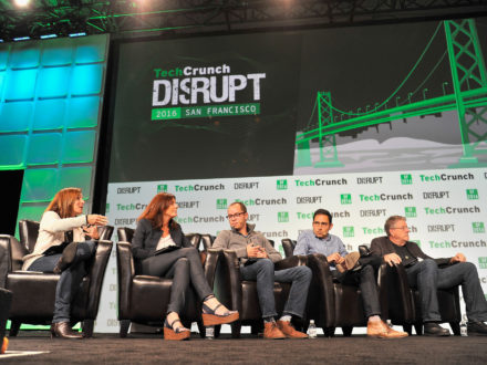 A panel speaks at TechCrunch Disrupt SF 2016. (Credit: TechCrunch)