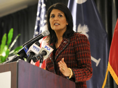 Photo: Nikki Haley, pictured here during her tenure as South Carolina governor, will be joined by Kevin Whitaker, U.S. ambassador to Colombia, and Kirsten Madison, a high-level drug enforcement official. (Credit: Staff Sgt. Jorge Intriago)