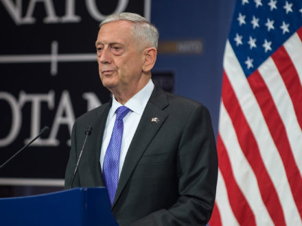 U.S. Secretary of Defense Jim Mattis speaking last year at the NATO headquarters in Brussels. (Credit: Department of Defense / U.S. Air Force Staff Sgt. Jette Carr)