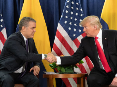 President Donald Trump participates in a bilateral meeting Colombian President Ivan Duque Marquez Tuesday, September 25, 2018, at the United Nations Headquarters in New York. (Photo credit: Official White House photo by Shealah Craighead)