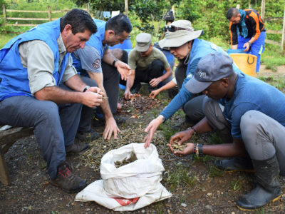 The UN Verification Mission in Colombia (UNVMC), with security and logistical support from the Colombian Armed Forces and help from some members of the FARC-EP (Revolutionary Armed Forces of Colombia-People's Army), cleared 750 of 998 FARC-EP arms caches. The operation required major logistical planning and effort, involving more than 40,000 kilometers travelled by helicopter, boat, land vehicles and horses. (Photo credit: United Nations / 13 August 2017, Bojayá, Colombia)