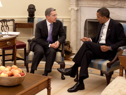 President Barack Obama meets with President Álvaro Uribe of Colombia in the Oval Office of the White House, June 29, 2009. (Official White House Photo by Pete Souza)