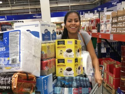 Beautiful Colombian woman shops at PriceSmart