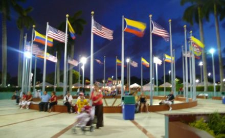 Colombian & American flags fly during Colombian Independence Day celebrations at the Dade County Fairgrounds. (photo: Loren Moss)