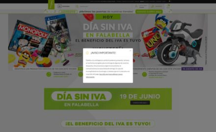 Screenshot of Falabella page with consumer warning