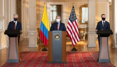 US DFC CEO Adam Boehler and US National Security Advisor Robert C. O'Brien joined Colombian President Iván Duque to announce the launch of the US-Colombia Growth Initiative. Photo credit: DFC