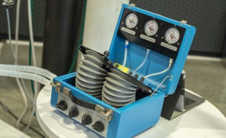 Ventilator bellows as designed by Medellín's Innspiramed initiative. Photo courtesy: Ruta N