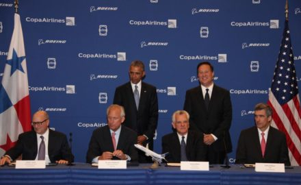 US President Barack Obana and Panama's President Juan Carlos Varela look on as (seated, l to r) David Joyce, President of GE Aviation, Jim McNerney, CEO and Chairman of Boeing, Stanley Motta, Chairman of Copa Holdings, and Copa CEO Pedro Heilbron signed documents recognizing the agreement. The airplanes had previously been listed as unidentified on Boeing's Orders and Deliveries website.