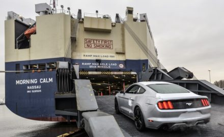 Ford Mustang being loaded for export. Photo courtesy FORD